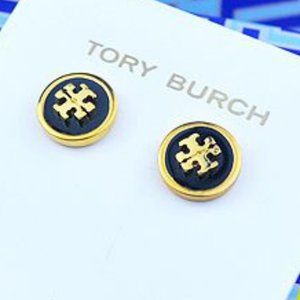 🍃Tory Burch Black Enameled Circle Stud Earring